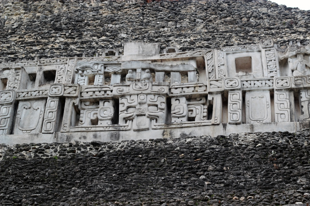 Impressive carvings on the face of El Castillo at Xunantunich.